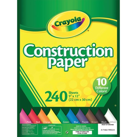 Crayola Construction Paper in 10 Colors, 240 Sheets