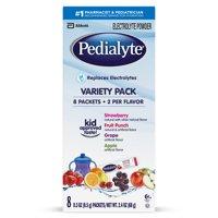 Pedialyte Electrolyte Powder, Electrolyte Drink, Variety Pack, Powder Sticks, 0.3 oz (Pack of 8)