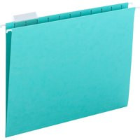 Smead Hanging File Folder with Tab, 1/5-Cut Adjustable Tab, Letter Size, Aqua, 25 per Box (64058)