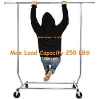 250 LB Heavy Duty Clothing Garment Racks Commercial Grade Adjustable Collapsible Rolling Clothes Rack