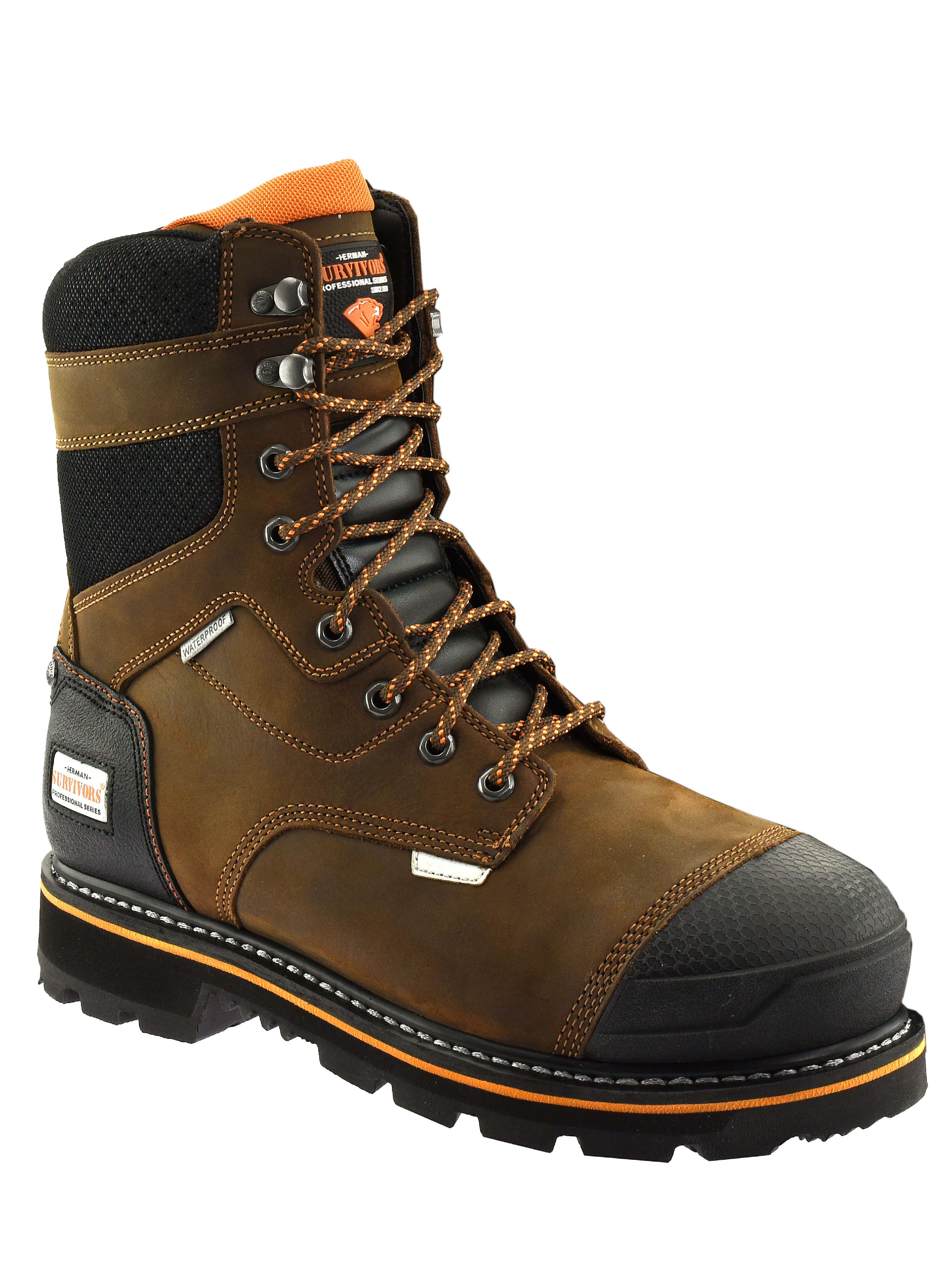 Herman Survivor Professional Series Men?s 8 inch Dozier Work Boot, ASTM Rated Safe, Slip Resistant, Brown and Black