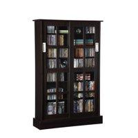 Atlantic 94835721 Windowpane 576 CD/ 192 DVD Blu-Ray Games Wood Cabinet With Sliding Glass Doors In Espresso