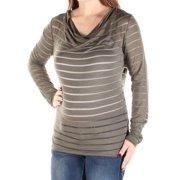 5c96c91f17fee2 INC Womens Green Sheer Striped Long Sleeve Cowl Neck Top Size: XS