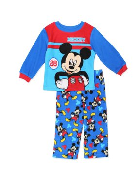 Disney Toddler Boys' Mickey Mouse 2-Piece Fleece Pajama Set, Blue/Red, Size: 2T