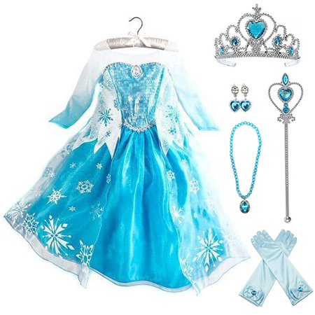 Frozen Elsa Dress Up Costume With Cosplay Accessories Crown Wand & Gloves - Frozen Characters Costumes