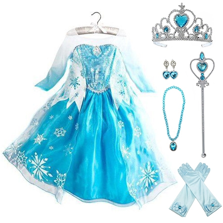 Frozen Elsa Dress Up Costume With Cosplay Accessories Crown Wand & Gloves