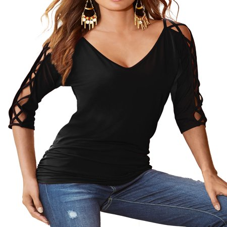 Nlife Women 3/4 Hollow Out Sleeve V Neck