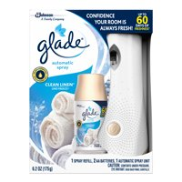 Glade Automatic Spray Holder and Clean Linen Refill Starter Kit, Battery-Operated Holder for Automatic Spray Refill, Up to 60 days of Freshness, 10.2 oz, 1 6.2 oz Refill