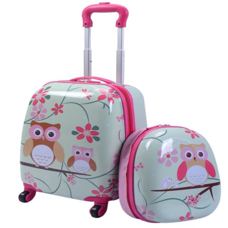 2Pc 12'' 16'' Kids Luggage Set Suitcase Backpack School Travel Trolley ABS Ballistic Nylon Luggage Sets