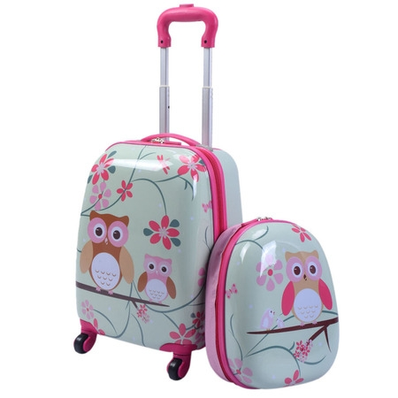 2Pc 12'' 16'' Kids Luggage Set Suitcase Backpack School Travel Trolley ABS (Backpack Luggage Trolley Bag)