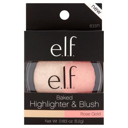 e.l.f. Cosmetics Baked Highlighter & Blush, Rose Gold (Blush Highlighter)