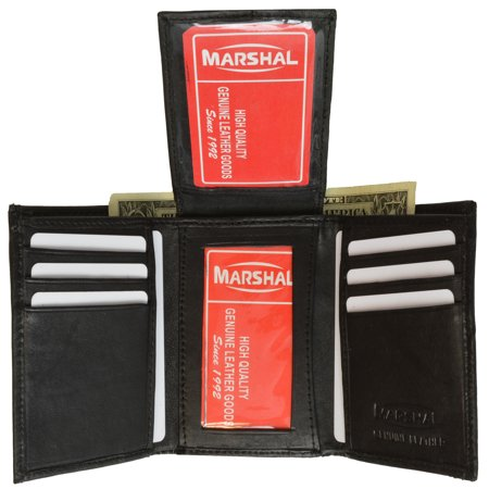 Mens Flap Up ID Trifold Genuine Leather Wallet 1755 (C) Black ()