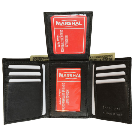 Mens Flap Up ID Trifold Genuine Leather Wallet 1755 (C) - Trifold Wallets