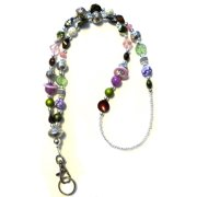 Hidden Hollow Beads Chunky Multi Women's Beaded Fashion Lanyard Necklace, Jewelry ID Badge and Key Holder, 34 in.