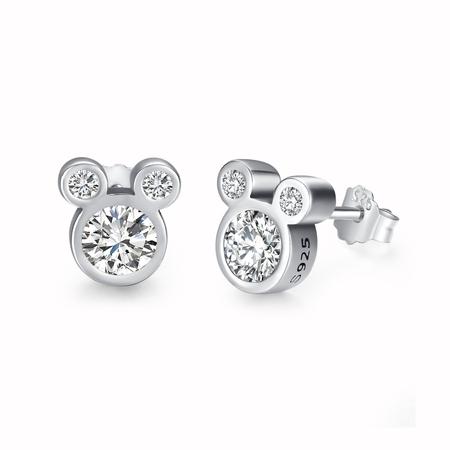 Twenty Plus 925 Sterling Silver Mickey Diamond Stud Earrings for Women and Girls Fashion Jewelry Gift, (Shop Womens Earrings)