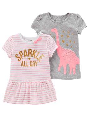 Short Sleeve Shirts, 2-pack (Toddler Girls)