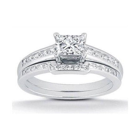 - 1ct Princess Cut Channel Set Diamond Wedding Engagement Ring 14K White Gold