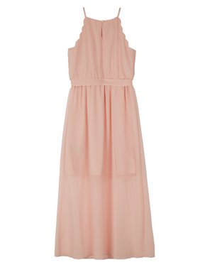 Scallop Edge Long Maxi Dress with Necklace (Big Girls)