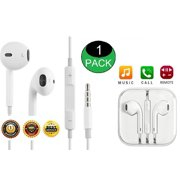 1-Pack OEM Quality Crisp Clear Stereo Sound Headphones Earphones Earbuds With Remote & Mic