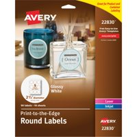 "Avery(R) Print-to-the-Edge True Print(TM) Glossy Round Labels 22830, 2-1/2"" Diameter, Pack of 90"