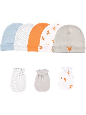 Baby Boy Cap and Scratch Mittens, 8-Pack