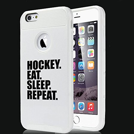 For Apple iPhone 6 6s Shockproof Impact Hard Soft Case Cover Hockey Eat Sleep Repeat (White) (Iphone 6 Devils Hockey Case)