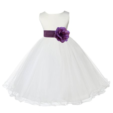 Ekidsbridal Ivory Satin Tulle Rattail Edge Flower Girl Dress Bridesmaid Wedding Pageant Toddler Recital Easter Holiday Communion Birthday Baptism Occasions 829S - Nice Girl Dress Up