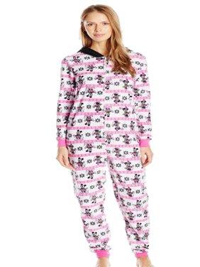 Disney Womens Pink Fleece Mickey Minnie Mouse Hooded Union Suit Sleeper Pajama