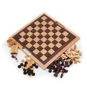 Deluxe Wooden 3-in-1 Chess Set, Backgammon & Checker Set by Hey! Play!