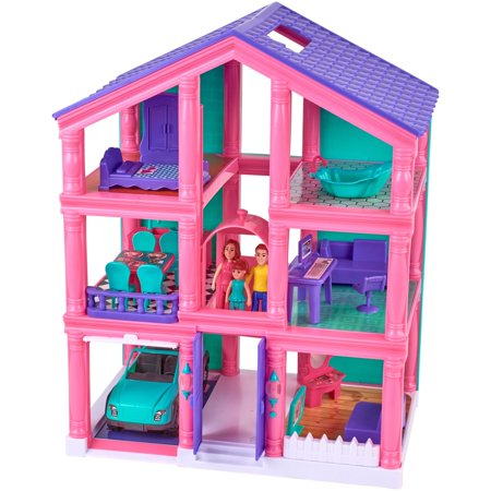 Kid Connection 24 Piece 3 Story Dollhouse Play Set With Working