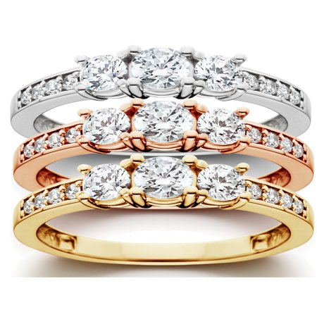 14k Celtic Engagement Ring - 1 ct 3-Stone Diamond Engagement Ring in 14k White, Yellow, Rose Gold