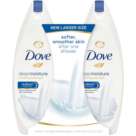 Dove Deep Moisture, Sulfate Free Moisturizing Body Wash, 22 oz, Twin Pack - Herbal Moisturizing Shower Gel