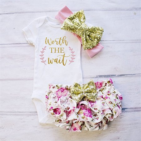 Newborn Baby Girls Cotton Tops Romper Jumpsuit Floral Shorts Pants 3Pcs Outfits Set Clothes Pink 0-3 Months