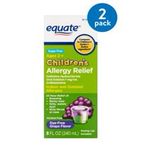 Equate Children's Dye Free Grape Flavor Allergy Oral Solution, 8 fl oz