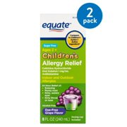 (2 Pack) Equate Children's Allergy Relief Dye-Free Grape Suspension, 8 Oz