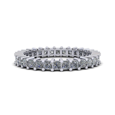 Natural 1.25Ct Princess Cut Diamond Shared Prong Women's Anniversary Wedding Eternity Band Ring Solid 10k White Gold I SI2