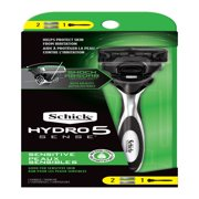 Schick Hydro Sense, Sensitive Razor for Men, 1 Razor Handle and 2 Razor Blades Refills
