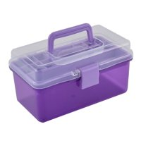 Plastic Dual Layers Screws Nuts Sundries Container Storage Box Case Purple
