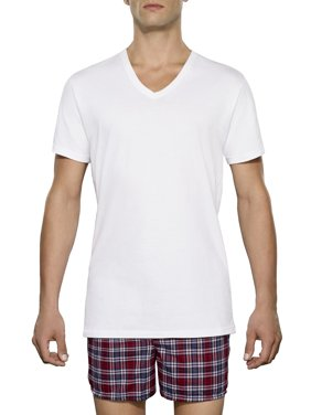 Tall Men's Classic White V-Neck T-Shirts, 3 Pack