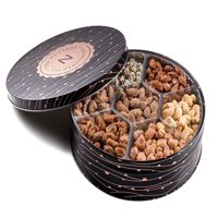 The Nuttery Metal Tin Gift Box, Mixed Nuts Gift Tray, 7 Section Nut Gift Box (7 Secional Metal Tin)