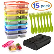 Meal Prep Containers Bento Lunch Box 7 Pack Microwave, With 7 Utensils and carrying case. Dishwasher and Freezer Safe Food Storage Container Boxes for Kids & Adults