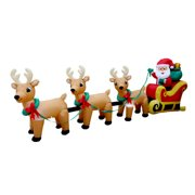 93a915a39e BZB Goods Christmas Inflatable Santa Claus on Sleigh with Three Reindeer  Decoration