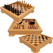 Deluxe 7-in-1 Game Set - Chess, Checkers, Backgammon and More, Brown, Game board dimensions: 2.75 x 12 x 12 By Trademark Games