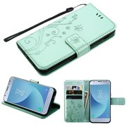 Pattern Flip Wallet Case Cover Stand Magnetic Buckle Hand Strap Purple 3D Butterfly Flower TEAL GREEN