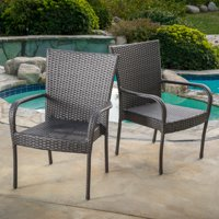 Noble House Outdoor PE Wicker Grey Stackable Club Chairs (Set of 2)