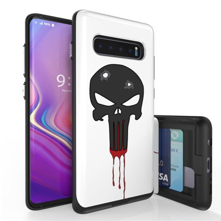 Beyond Cell Duo Shield Series Compatible with Samsung Galaxy S10+ Plus, Slim Hybrid Shock Absorption Case with 2 Card Wallet Slide-Out Compartment and Atom Cloth - Black