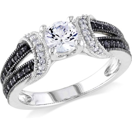 5/8 Carat T.G.W. Created White Sapphire and 1/4 Carat T.W. Black and White Diamond Sterling Silver Engagement Ring (Black Diamond Ring Engagement)