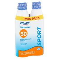 Equate Sport Broad Spectrum Sunscreen Spray Twin Pack, SPF 50, 5.5 oz, 2 count