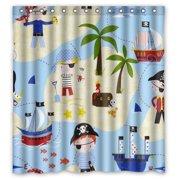 HelloDecor Pirates Nautical Set Shower Curtain Polyester Fabric Bathroom Decorative Size 66x72 Inches