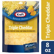 Kraft Finely Shredded Triple Cheddar Natural Cheese, 8 oz Pouch